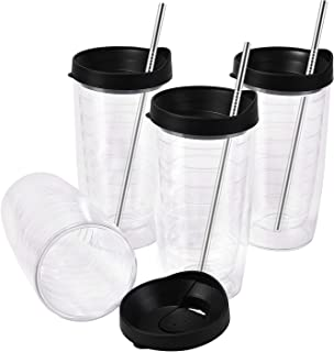 4 Pack Insulated Tumblers 16Oz, Double-walled Tumblers, Insulated Plastic Cups with Black Lid, Large Capacity for Hot and Cold Drinks