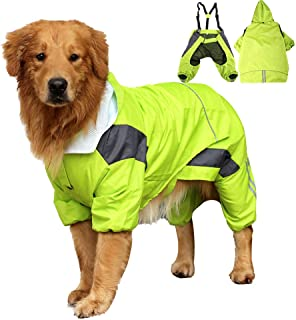 Yult Dog Raincoat for Large Dogs Hooded Removable with Reflective Stripes Waterproof Rain Coat for Medium Dogs Pet Jacket Slicker Poncho Adjustable Four Feet Drawstring