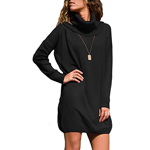 fa5a98769c8 Azokoe Womens Casual Loose Heap Collar Mini Knit Sweater Dress with Side  Pockets