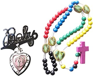 Gold Plated Baby Lapel Pin and Multicolor Wood Rosary Set Available for Boy or Girl Free Blessed Prayer Card
