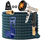 BLAVOR Expandable Garden Hose 100ft,Strongest Expanding 3750D,Flexible and Durable 4-Layers Latex Water Hose with 10-Way Heavy Duty Zinc Water Spray Nozzle,Solid Brass Fittings