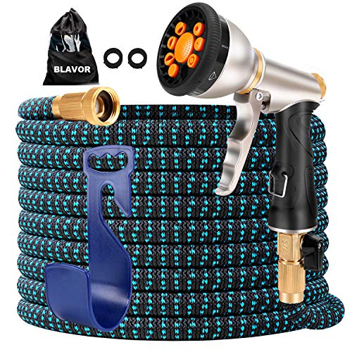 BLAVOR Expandable Garden Hose 100ft Flexible Lightweight, Water Hose Strongest Expanding Hose with 10-Way Heavy Duty Zinc Water Spray Nozzle[ 2021 New Upgraded ]