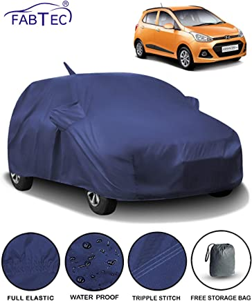 Fabtec Waterproof Car Body Cover for Hyundai Grand i10 with Mirror and Antenna Pocket and Storage Bag (Full Sized, Triple Stitched, Fully Elastic)