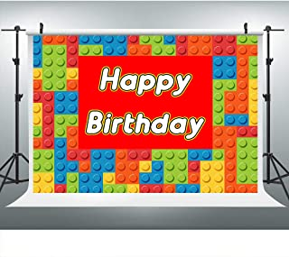 Colorful Building Block Chips Photography Backdrop for Lego Theme Birthday Party, 9x6FT, Happy Birthday Background, Cake Table Banner Photo Booth Studio Props LYLU484