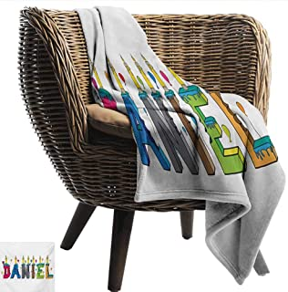 smllmoonDecor Throw Blanket Daniel Grooving Cheerful Male Name with Happy Occasion Birthday Theme Bite Marked Cake Warm and Cosy W54 xL84 Sofa,Picnic,Camping,Beach,Everyday use