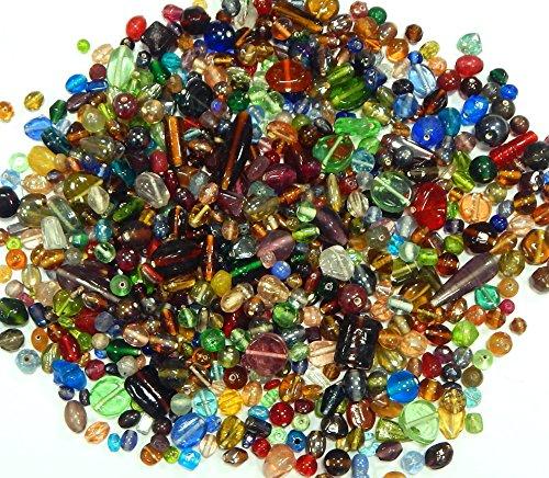 500g Glasperlen Mix Kit Glas Kinder Perlen zum Fädeln Silberfolie Lampwork Glasschliffperlen Feuerpoliert Rund Oval Bunte Perlenset Bastelset zur Schmuckherstellung von Halsketten Armband (500)