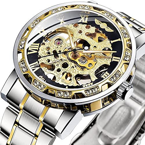 Reloj automático para Hombre con Correa de Acero Inoxidable Reloj de Pulsera analógico para Hombre con Esqueleto (Plata)
