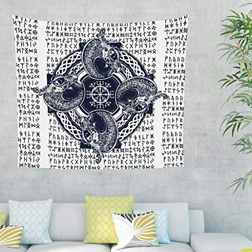 LIFOOST Tapiz bohemio para pared, manta de playa para decoración del hogar, color blanco, 150 x 130 cm