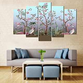 WENS Velvet Laminated Birds and Peonies 5 Panels Framed Wall Art (24x40 Inch)