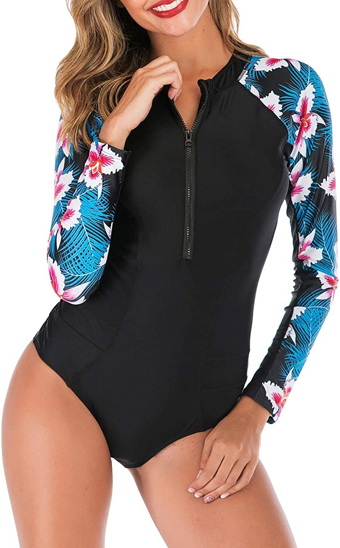 Juliarode Women's One Piece Long Sleeve Zip Front Printed Swimwear Rash Guard UV Protection Surfing Swimsuit Black/Blue