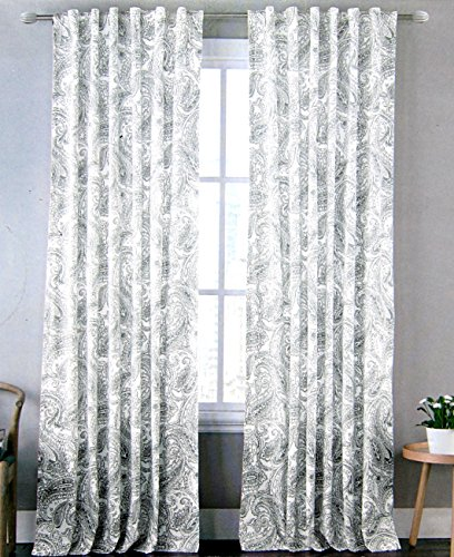 Envogue Florins Medallion Pair of Curtains in Seafoam Vintage Paisley Scroll 50-by-96-inch 100% Cotton Set of 2 Window Panels Drapes Grey Greenish Gray
