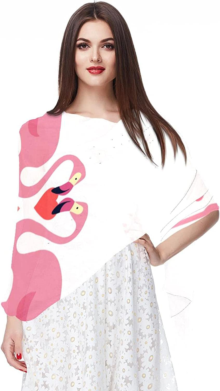 Scarfs for Women Lightweight Fashion Scarves Print Floral Pattern Scarf Shawl Wraps, Pink Flamingos Love Heart
