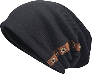 VECRY Men's Oversize Slouch Beanie Slouchy skullcap Large Baggy Hat (Button-Black)