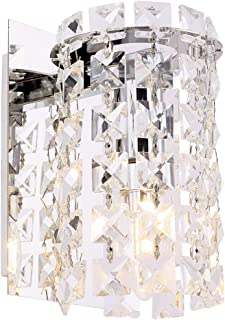 Wall Sconce with Crystal Drops,Polished Chrome Finish,Cylinder Wall Light Fixtures for Living Room,Bathroom,Bedroom and Hallway,Wall Sconce Lighting