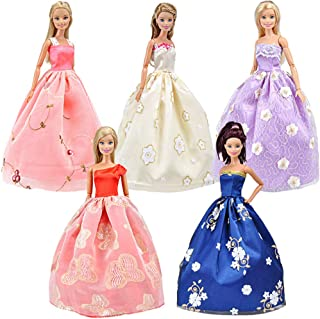 E-TING 5pcs Fashion Gorgeous Princess Wedding Party Gown Dresses Clothes with Floral-Print Voile All Around for Girl Doll