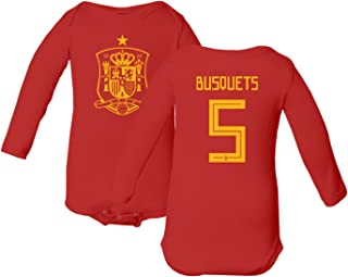 Spain 2018 National Soccer #5 Sergio BUSQUETS World Championship Little Infant Baby Long Sleeve Bodysuit