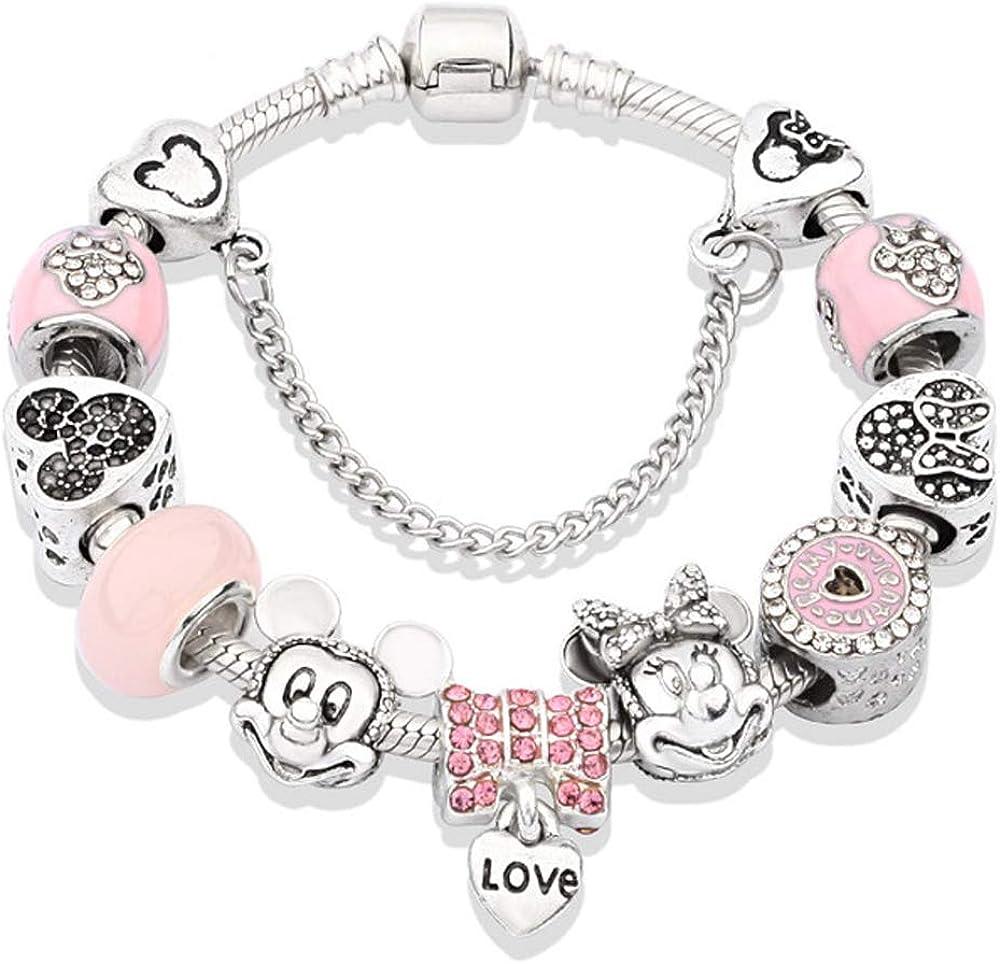 YUNZHI Pink Mickey Minnie Charm Bracelet with Gift Box Set for Girl Lady