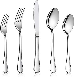 60-Piece Silverware Flatware Set, E-far Stainless Steel Dinner Cutlery Utensil Set Service for 12, Suitable for Home/Resta...