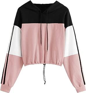 Women's Casual Long Sleeve Colorblock Pullover Sweatshirt Crop Top