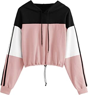 SweatyRocks Women's Casual Long Sleeve Colorblock Pullover Sweatshirt Crop Top