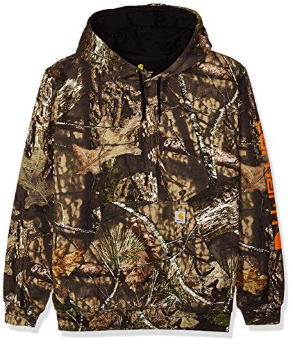 Carhartt Men's Midweight Camo Sleeve Logo Hooded Sweatshirt (Regular and Big & Tall Sizes), Mossy Oak Break, Large