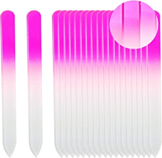SIUSIO Set of 20 Professional Crystal Glass Nail Files Buffer Manicure Gradient Rainbow Color for Nail polishing- Best for Fingernail & Toenail Care(pink)