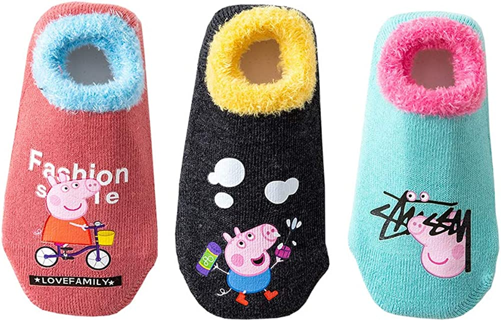 Toddler Kids Cute Thick Warm Non-Slip Cozy Socks Winter (Pack of 3)