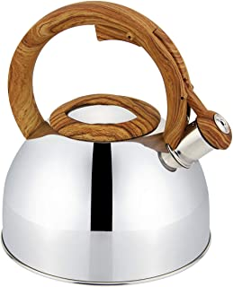 Topfann Stainless Steel Whistling Tea Kettle 3.2qt Stove Top Mirror Kettle Teapot (GS-04113-3L, Mirror)