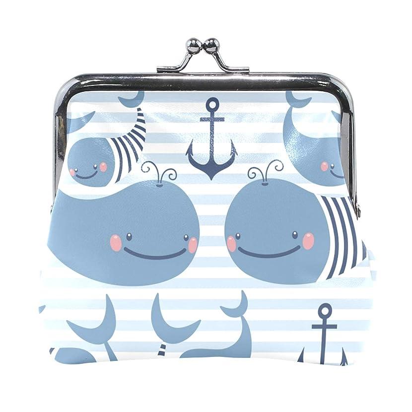 恵み視聴者公爵がま口 財布 口金 小銭入れ ポーチ クジラ 海 動物 水中 サメ 魚 可愛い ANNSIN バッグ かわいい 高級レザー レディース プレゼント ほど良いサイズ
