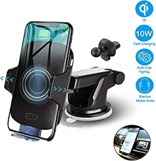 Wireless Car Charger Mount, wejie Auto Clamping 10W 7.5W Qi Fast Charging Car Phone Mount, Air Vent Windshield Dashboard Phone Holder Compatible for iPhone Xs/Max/X/XR/8/8 Plus, Samsung Note 9 (Black)