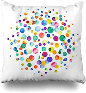 Aika Designs Throw Pillows Covers Pillowcase Dot Watercolor Rainbow Colored Confetti Scattered Abstract Around Party Circle Color Brush Pattern Home Decor Zippered 20