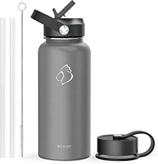 BUZIO Insulated Water Bottle with Straw Lid and Flex Cap, 32oz, 40oz, 64oz Modern Double Vacuum Stainless Steel Water Flas...