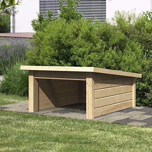 HORI®Mähroboter Garage Terragrau Dach aus Massivholz I 73 x 77 cm I Carport Rasenroboter Unterstand