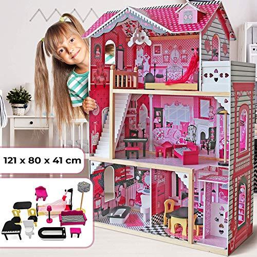 Nova Casa delle Bambole in Legno - 121x80x41 cm, 3 Livelli di Gioco, 12 Accessori e Mobili Inclusi, 4 Stanze, per Bambole di 27 cm - Casetta per Bambole, Casa Barbie Miniatura