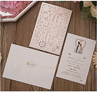 50Pcs Greeting Cards White Red Laser Cut Wedding Invitations Card Mr&Mrs Customize Envelopes Party Supplies,One Set White,127 X 186 Mm