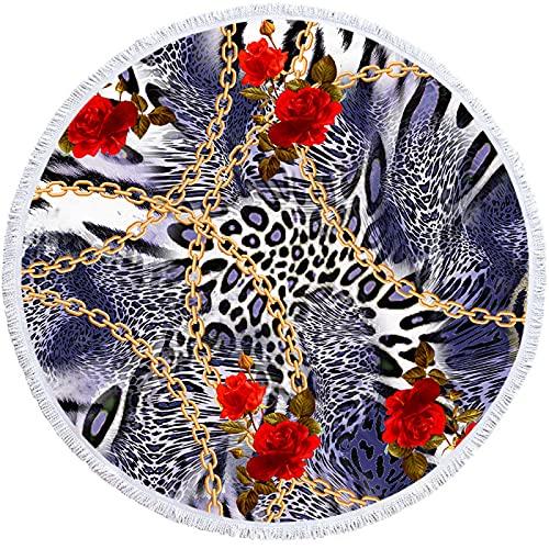 YDyun Toallas de Microfibra – Conjunto de Toallas de Viaje Toalla Deportiva, Toalla de Playa y Toalla de Viaje Toalla de Playa Redonda con Estampado de Leopardo y borlas