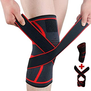 RABEEY Knee Brace Adjustable Compression Knee Support Sleeve for Men Women New Generation Knee Protector Single pack (Large)