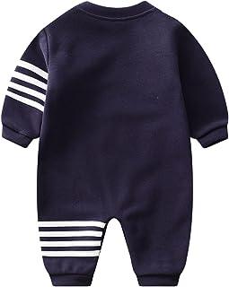 مولود جديد طفل صبي بنت رقبة مستديرة رياضات رومبير ملابس رضيع خريف كم طويل حللا وزرة (Color : Blue, Size : 66CM)