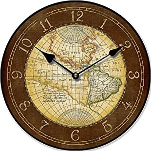WALL CLOCK MAP OF THE WORLD KITCHEN CLOCK ANTIQUE - Tinas Collection - The different design