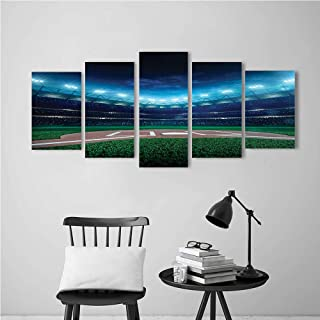 5 Panels Paintings On Canvas Wall Art for Home Print Canvas, Sports Prof sional Baseball Field at Night with Spotlights Playground Stadium League Theme Green and Blue Poster Deco Painting.