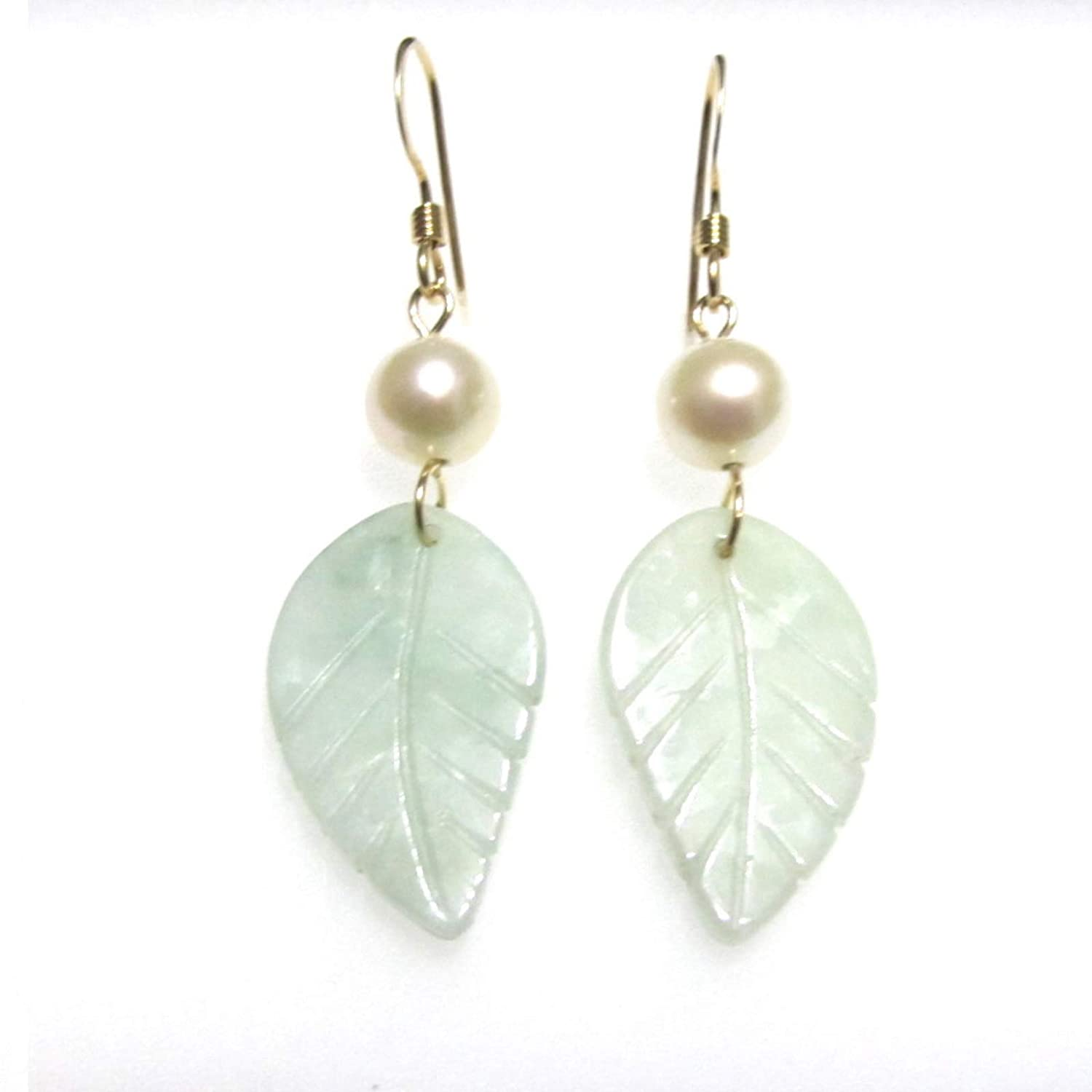 Carved Leaf Don't New sales miss the campaign Jade Soft Green Drop Pearl White Freshwater Dangle