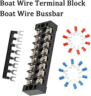 Shangyuan Boat Wire Terminal Block Buss Bar for Electrical Equipment, 25A Terminal Strip Blocks Busbar for Wiring Up Fuse Panel Battery Switches Inverters Boat Lights Marine Interior Navigation Light