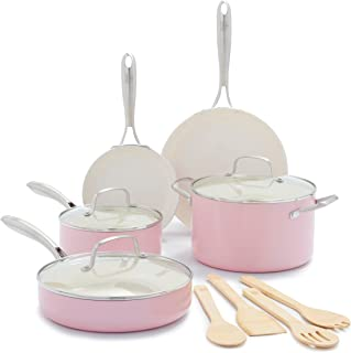 GreenLife Artisan Healthy Ceramic Nonstick, Cookware Pots and Pans Set, 12 Piece, Soft Pink