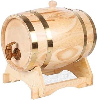 Tonneau à vin en Bois 1.5LTonneau à Vin, Bois Vintage Chêne Tonneau pour Protection Vin Rouge Bière Liqueur Cognac Tequila...
