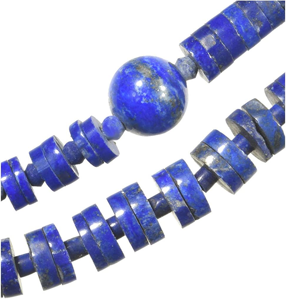 uGems Some reservation Lapis Ranking TOP5 Lazuli Heishi and Inch Necklace Round Graduated 18