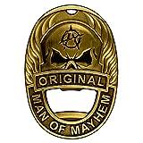 Hombre de Mayhem Badge abrebotellas magnético con imán de tierras raras, dinero clip, de acero y llavero–Clips y se adhiere a casi cualquier cosa para máxima comodidad Vintage Brass