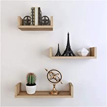 Sets van 3 zwevende plank combinatie hout, muurbevestiging opbergrek voor fotolijst boek Plant Pot Collectibles Kerst orna...