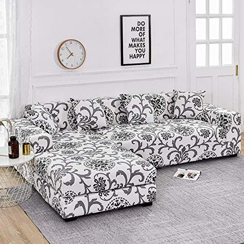 Floral Printed Elastic Sofa Cover for Living Room Chair Cover Protector Purchase Two Separate Covers to L-shaped Sofa A13 2 seater