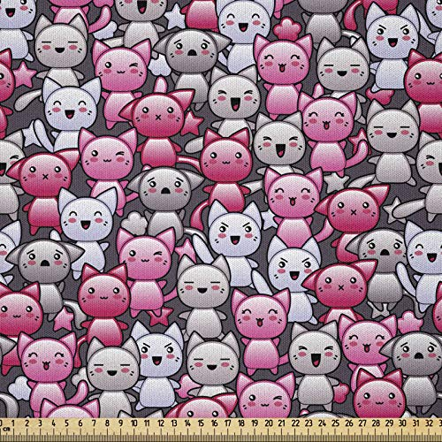 ABAKUHAUS Gato Tela por Metro, Doodle Humor Lindo De Kawaii, Microfibra Decorativa para Artes y Manualidades, 1M (230x100cm), Tan Rosa Lila