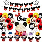 46PCS Mickey Globo,OYSJ Decoraciones de cumpleaños de Mickey Mouse,Decoraciones de Fiesta temática Rosa de Mickey para Decoración de Fiesta de Cumpleaños